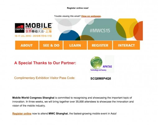 APATAS Partner with Mobile World Congress Shanghai 2015