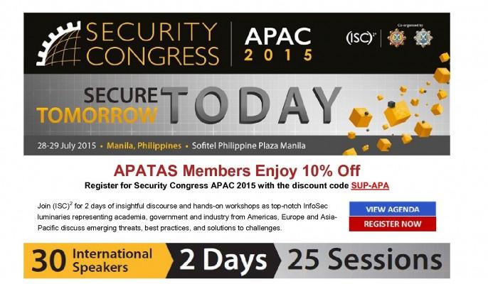APATAS Members enjoy 10% off Security Congress APAC 2015